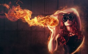 Fantasy Girl with a Fire Ball HD Wallpaper