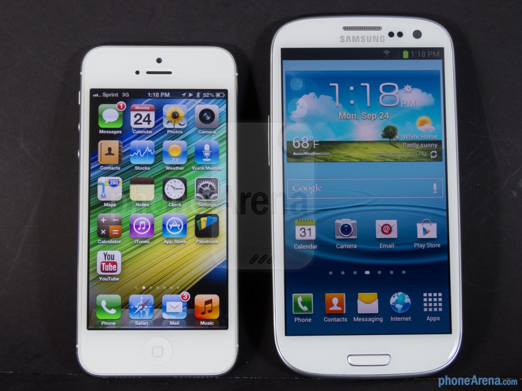 Apple iPhone 5 vs Samsung Galaxy HD Wallpaper