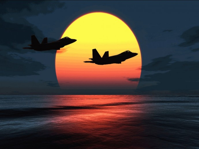 F 22 Raptors Over Sunset HD Wallpaper