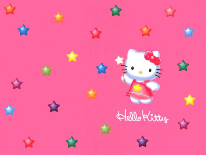 Colorful Hello Kitty Pentagram Wallpaper