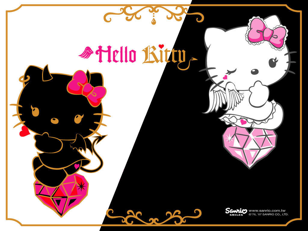 Hello Kitty Black and White Wallpaper | ImageBank.biz