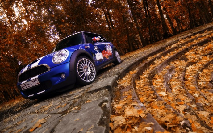 Mini Cooper Blue Wallpaper HD