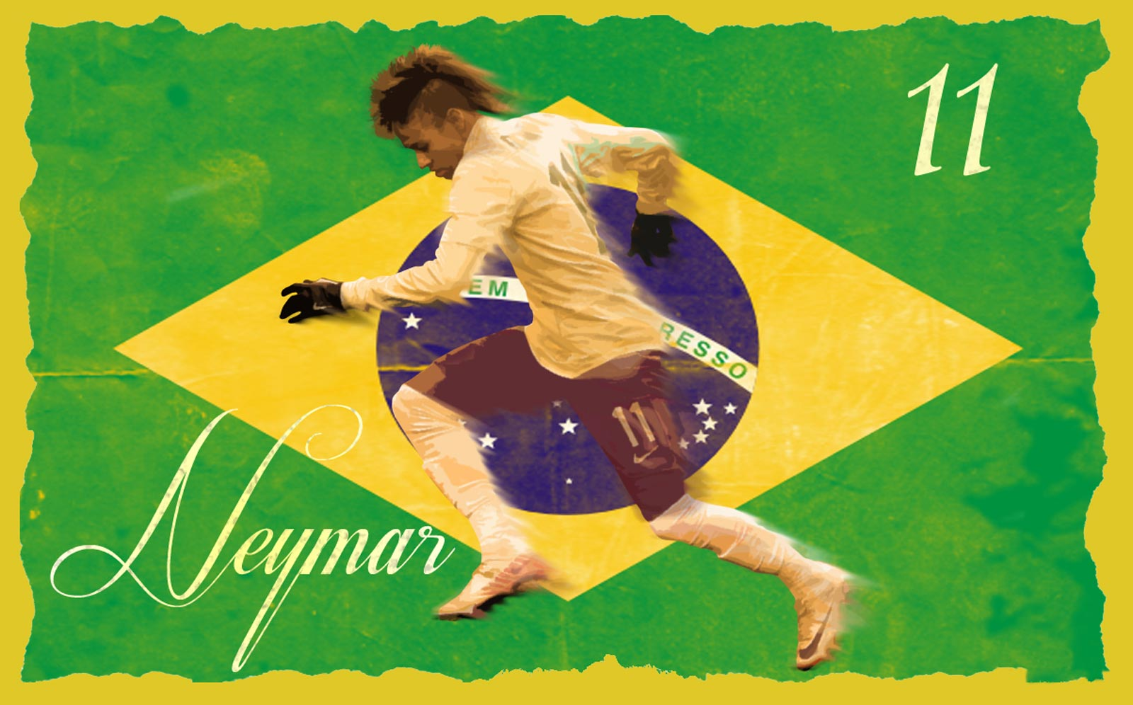 brazil flag wallpaper with neymar art picture with 1600x996 Resolution