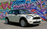 White Mini Cooper Grafitty Wallpaper