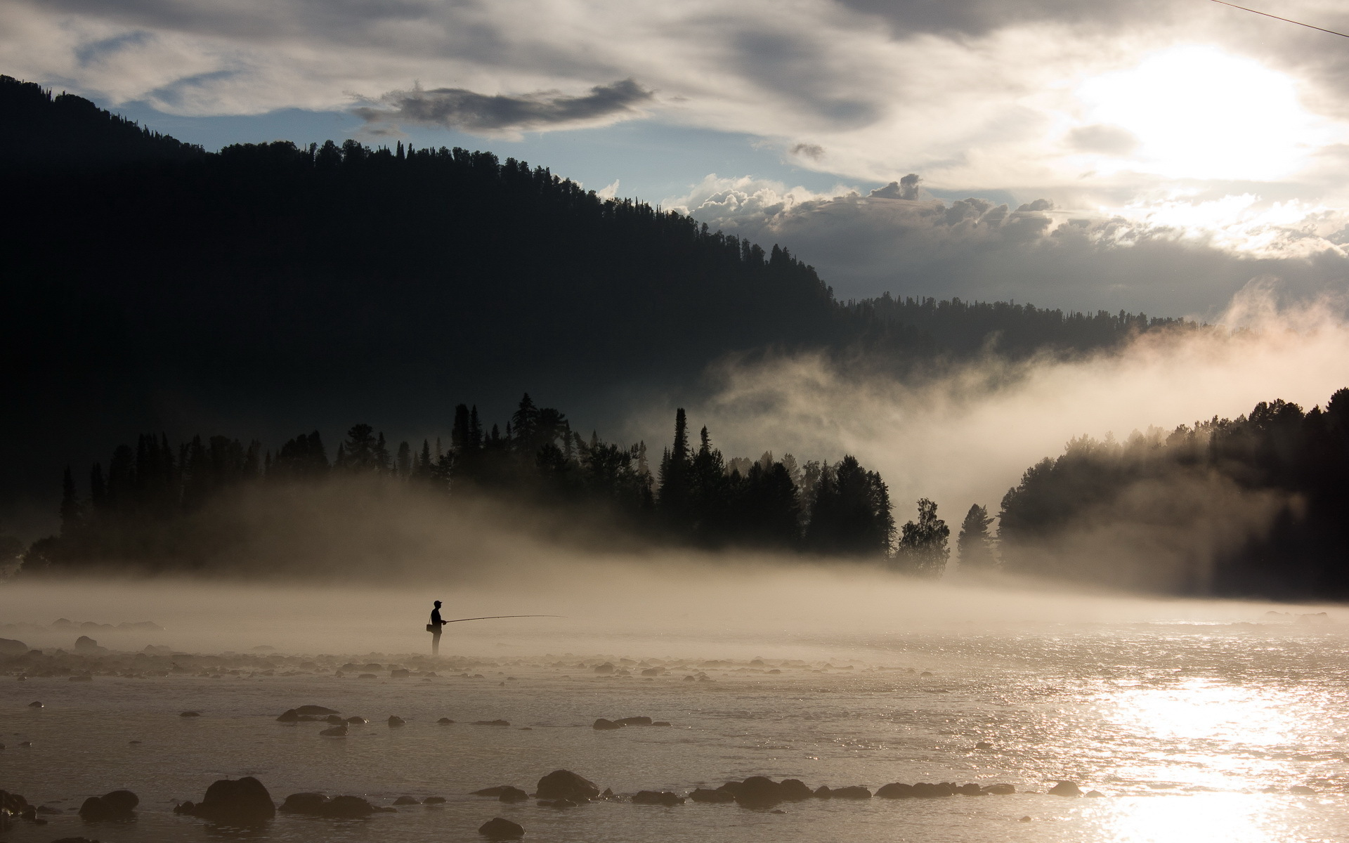 Cool picture of fishing image of river fire for Cool fishing wallpapers